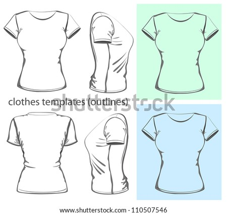 Ladies t shirt download free vector art stock graphics images womens t shirt design template front back and side view pronofoot35fo Choice Image
