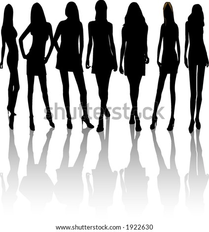 silhouettes of women. Vector women silhouettes