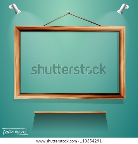 Vector Wood frames and wood shelf on wall