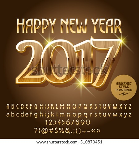 Vector wood Happy New Year 2017 greeting card with set of letters, symbols and numbers. File contains graphic styles #510870451