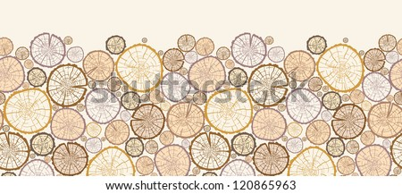 Vector wood log cuts horizontal seamless pattern ornament background with hand drawn