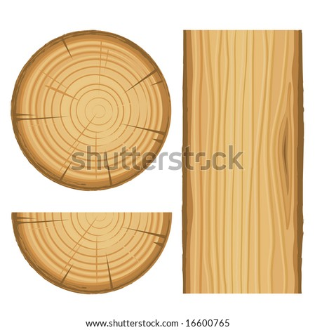 vector wood material parts isolated on white background