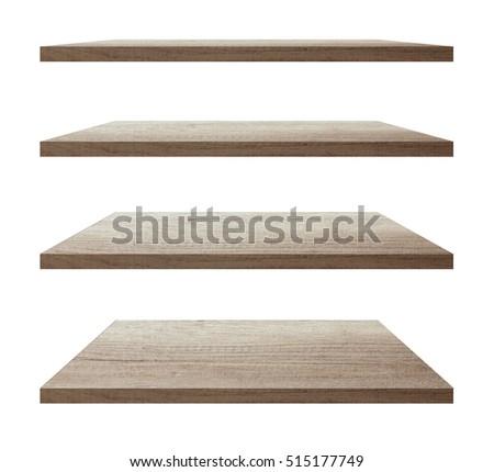vector wood shelf isolated on