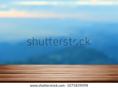 Vector wood shelf table with blurred mountain on clouds blue sky background. product display template design