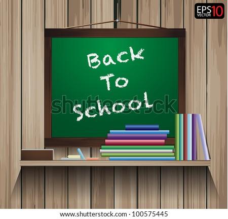 Vector wood shelf with write Back to School on blackboard.