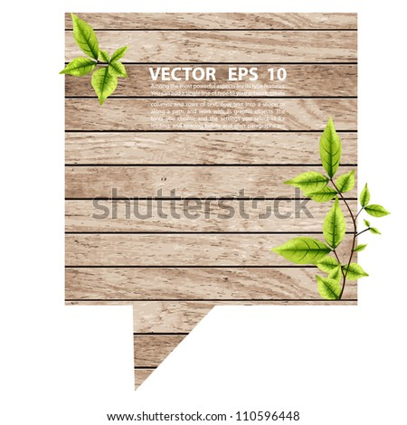 vector wood speech bubbles with eco green leaves