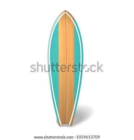 vector wood surf board summer