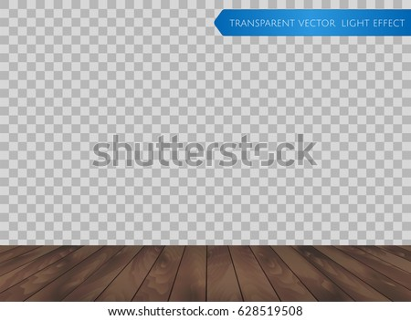 Vector wood table top or wooden floor isolated on transparent background. Realistic dark brown wooden surface for your design in perspective view
