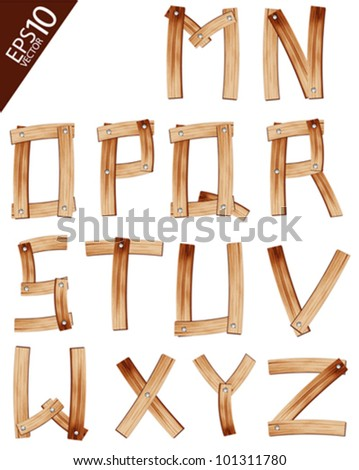 Vector Wooden Alphabet set