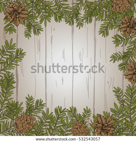 Vector wooden background with fir branches and fir cones.