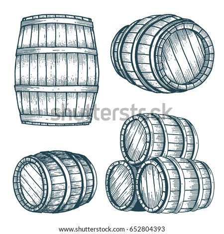 Vector wooden barrel. Hand drawn vintage illustration in engraved style.  Alcohol, wine, beer or whiskey old wood keg.