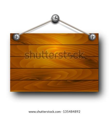 Vector wooden board hanging.