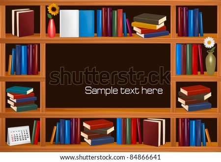 Vector wooden bookshelves.