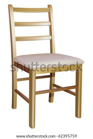 vector wooden chair on white background