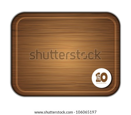 Vector wooden cutting board isolated on white background. Eps 10