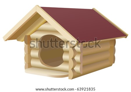 vector wooden dogs house on white background