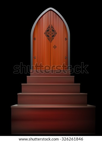 vector wooden door illustration