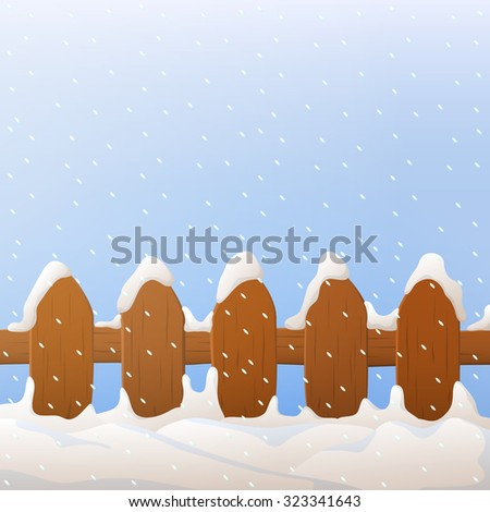 vector wooden fence with snow