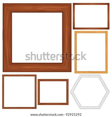 vector wooden frames on white