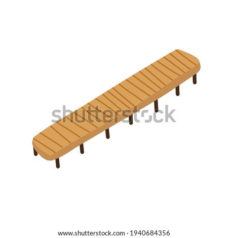 Vector wooden pier with brown and black elements. Vector illustration in cartoon flat style isolated in white background Foto d'archivio ©