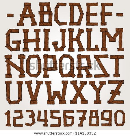 Vector wooden planks font set