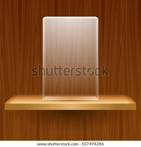 vector wooden shelf with empty glass box