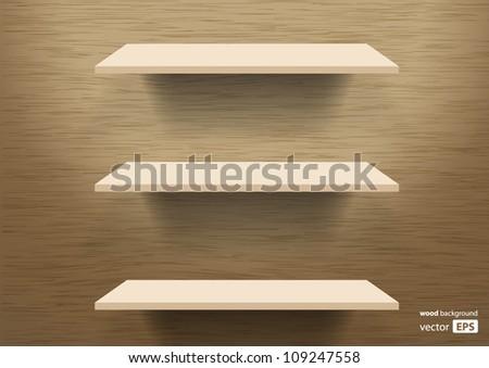 vector wooden shelves background - stock vector