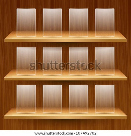 vector wooden shelves with empty glass boxes