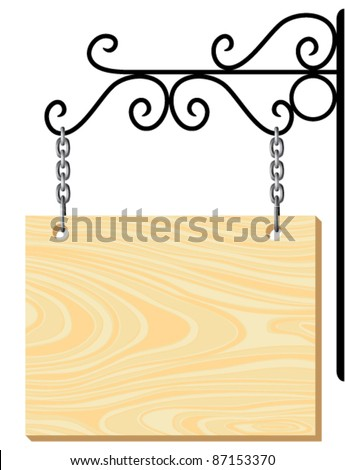 vector wooden signboard and metal decoration