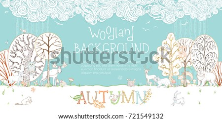 vector woodland autumn