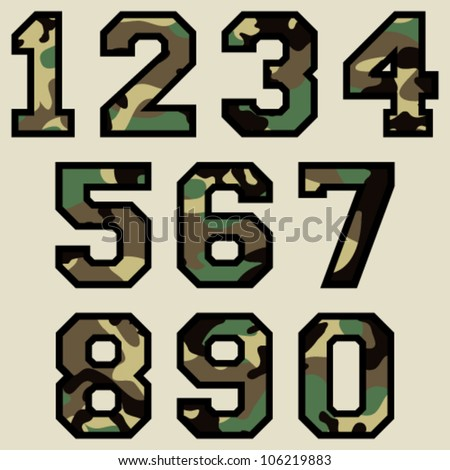 Vector Woodland Camo Numbers (Camouflage Pattern) - stock vector