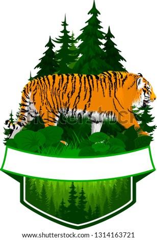 vector woodland emblem with tiger