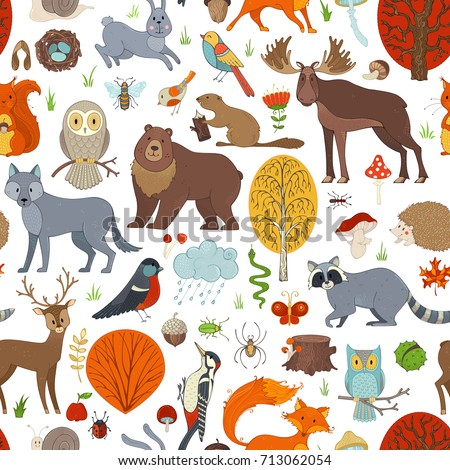 vector woodland seamless