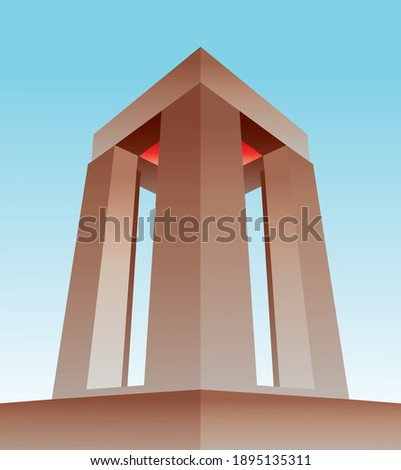 Vector work drawn across the Çanakkale Martyrs Monument. It is a monument built for the Battle of Çanakkale.