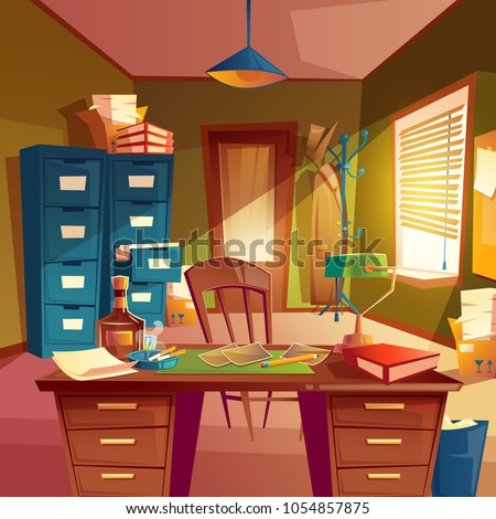 Vector working space of detective, office room interior. Desktop, cabinet, bookshelves, chair, table with lamp, case, ashtray with cigarettes, alcohol bottle. Place for agency Concept for workplace