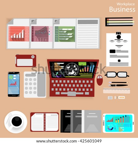 Vector Workplace businessman viewed the use of modern communication technologies, notebooks, tablets, mobile phones, cameras,  pencils, rulers, notebooks, paper and a cup of coffee flat design