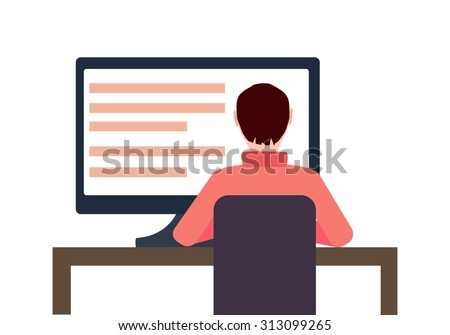 Vector Workplace Concept Flat Illustration. Man Working On Desktop Computer.