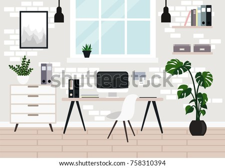 Vector workplace modern design. Office, studio, cabinet or home workspace interior with white brick wall, window, desktop, PC computer, documets, plants. Flat style illustration