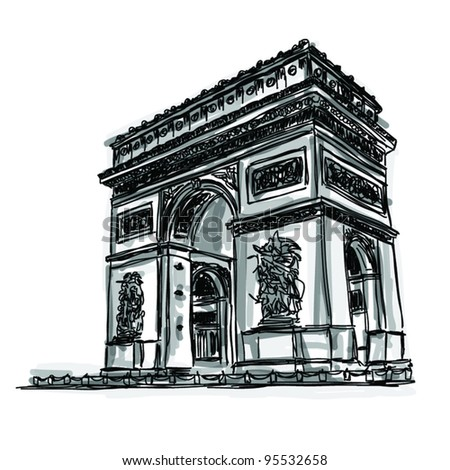 Vector World famous landmark collection : Arc de Triomphe, Paris, France