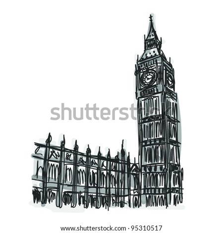 Vector World famous landmark collection : Big Ben London, England