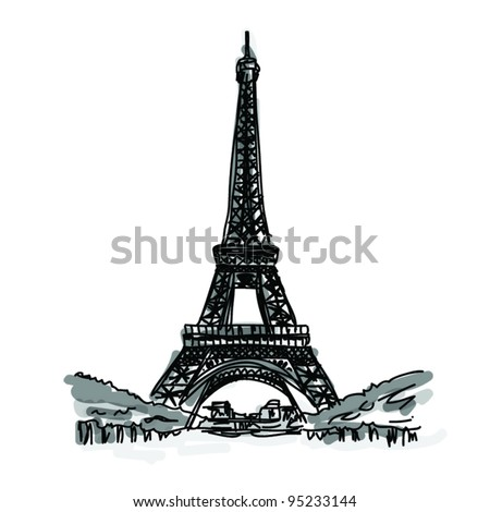 Vector World famous landmark collection : Eiffel Tower, Paris, France
