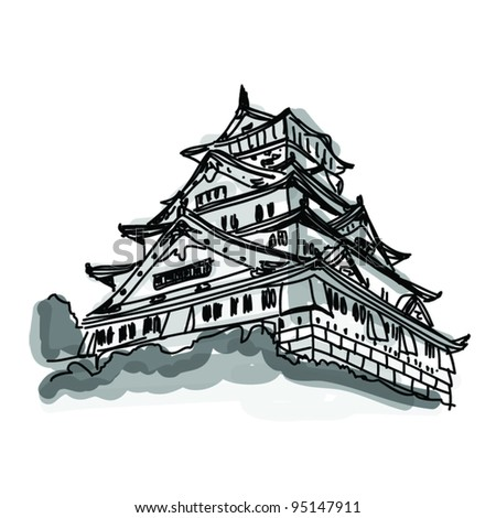Vector World famous landmark collection : Osaka castle Osaka, Japan