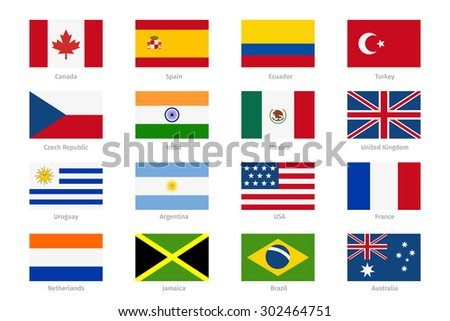 vector world flags in flat