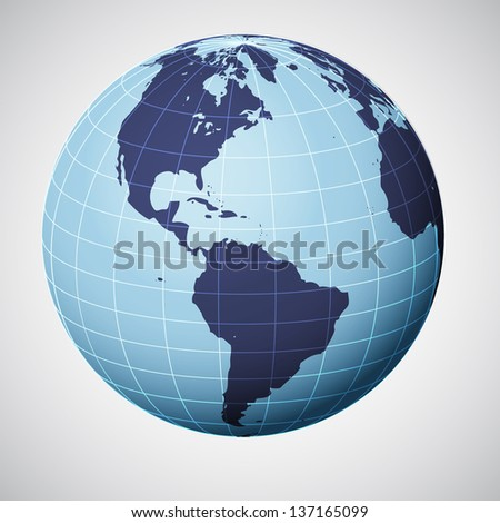 vector world globe in blue focused on america illustration