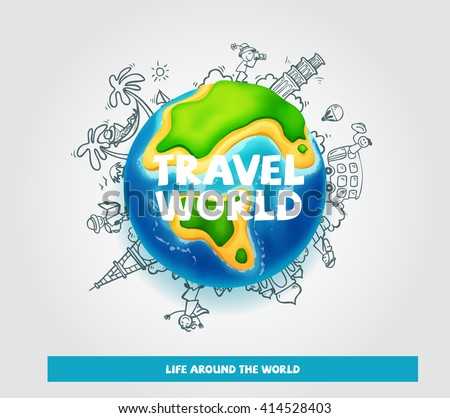 vector world globe travel and