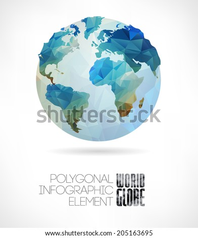 Vector world globe, triangular map of the earth. Modern elements of info graphics. World Map