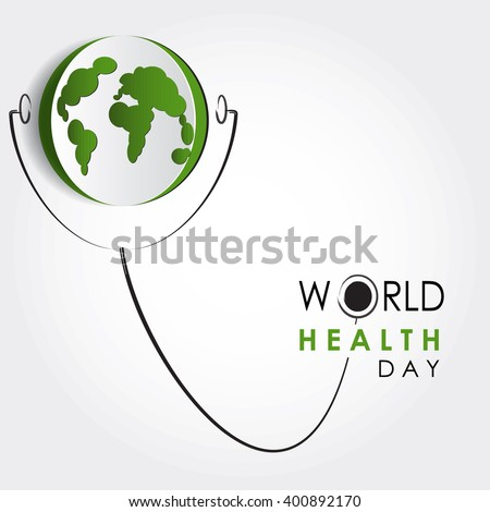 Vector world health day design concept. Cut out Earth illustration with stethoscope. Medical care. Template for poster, banner, advertisement, cover, creative card. Notch out symbols.Medicine idea