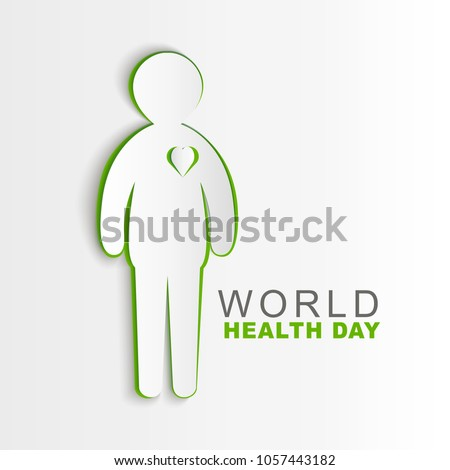 Vector World Health Day poster design. Save Health concept. Paper Human  illustration. Protect world idea.Template for banner, advertisement cover. Realistic Paper card