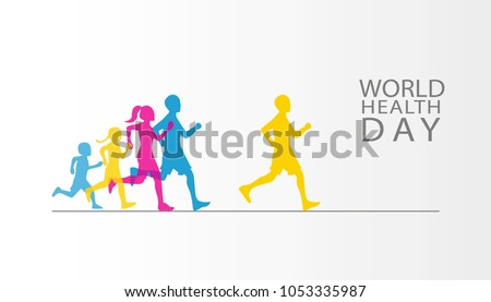Vector World Health Day Poster design. Save Health Concept. People Jogging Sport Family Fitness Run Training. Flat Vector Illustration.Template for banner, advertisement cover.