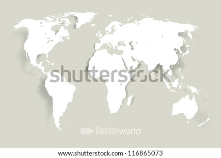 World continents map vector download free vector art stock vector world illustration with smooth vector shadows and white map of the continents of the world gumiabroncs Choice Image